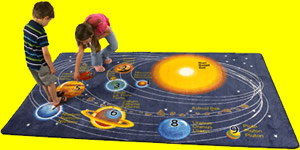 Saw The Solar System On A Rug This Features All Planets And Pluto As Well Earths Moon Numbered Translated Into Three Languages